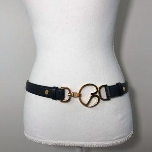 St. John Leather Black Belt with Gold Emblem